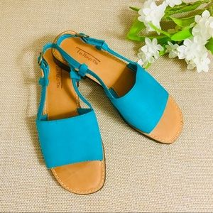 TALBOTS Turquoise Genuine Leather Open Toe Sandals